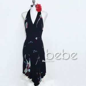 bebe Dress Backless Halter Asymmetrical Hem Black